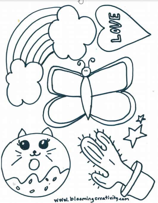 Shrinky Dink Design Printable with Cat Donut, Cactus, Butterfly, Stars, Rainbow, and Heart with Love Written in it