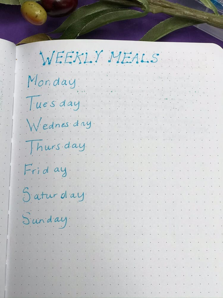Bullet Journal Weekly Meal Planner