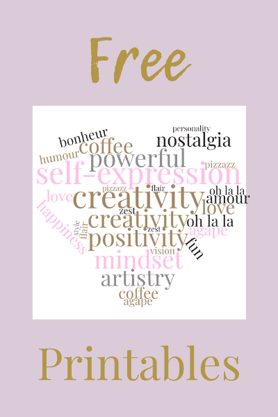 Free Printables with pretty word cloud on lavender background