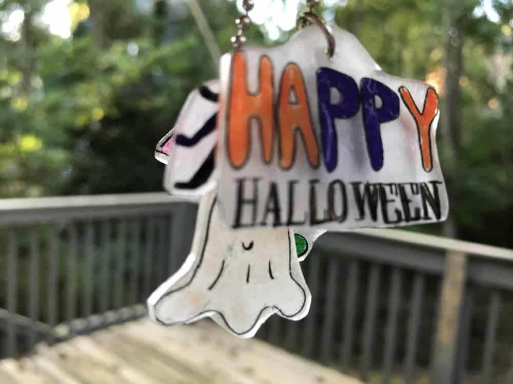 close up of Happy Halloween Shrinky Dink