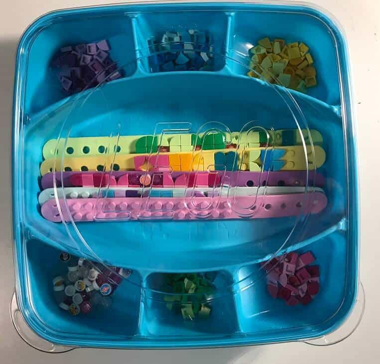 Lego Dots Bracelet Set Plastic Container and Lid filled with items from set