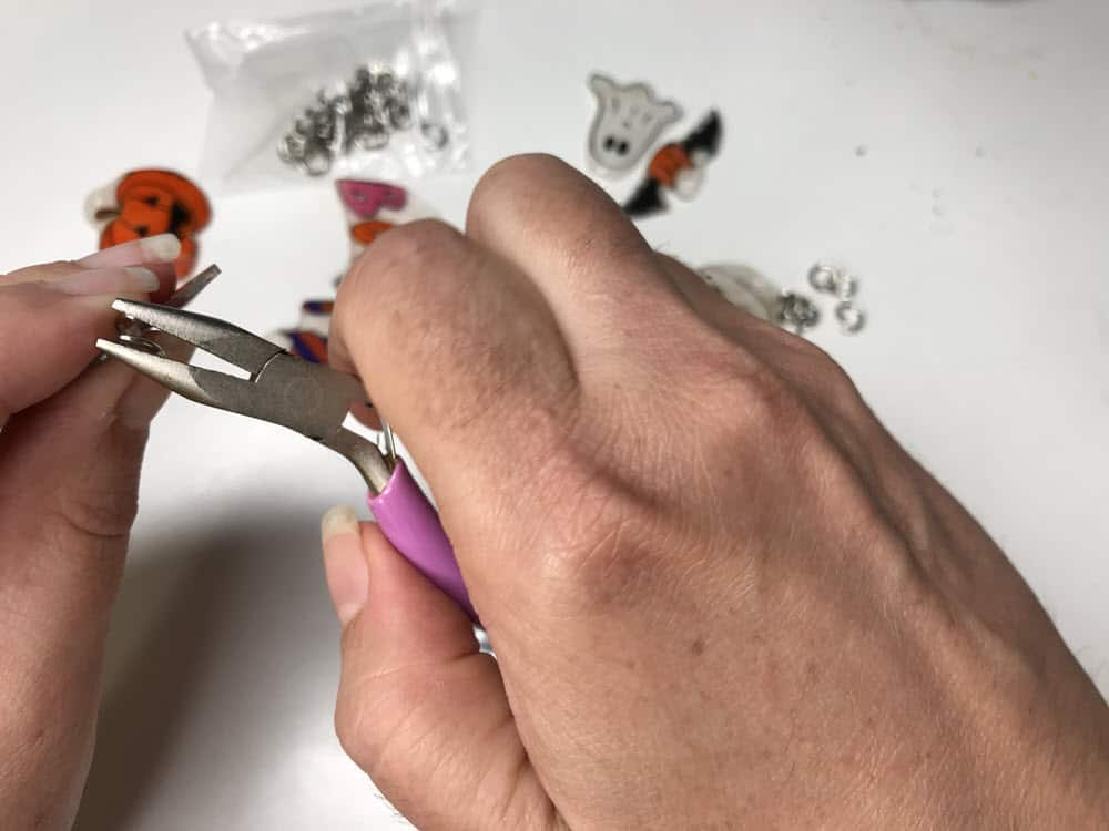DIY Halloween Jewelry Pliers to put Jump ring on Shrinky Dink Charm with