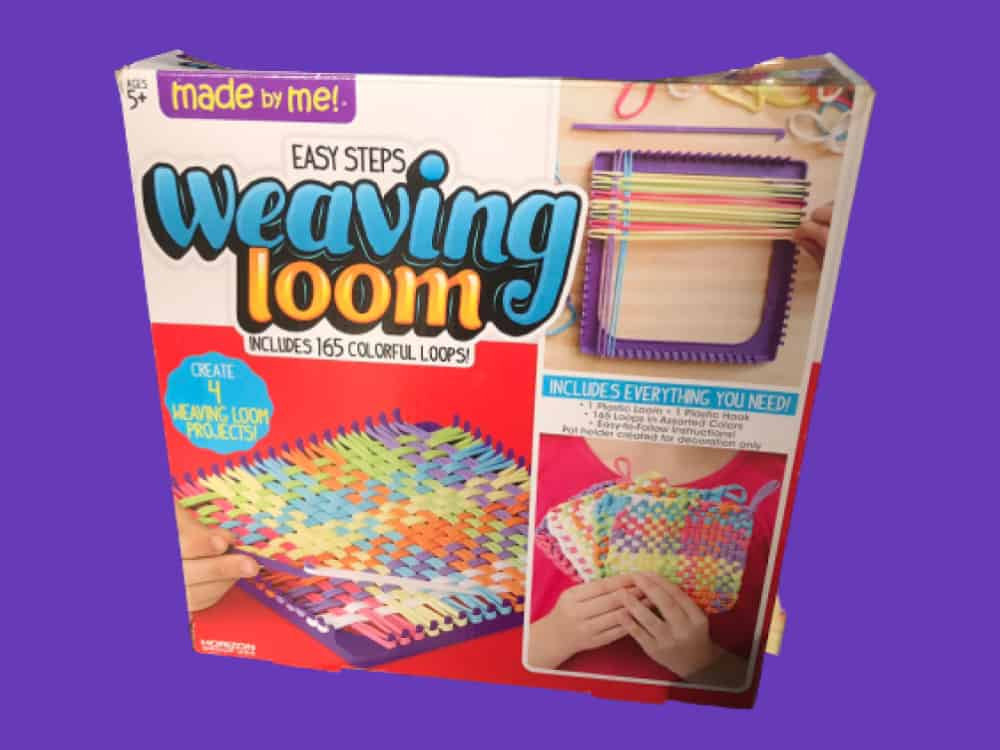 "Weaving Loom Kit by ""Made by Me"" Brand on a purple background"