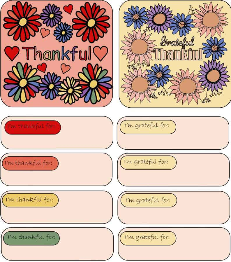 Digitally colored Gratitude Jar labels and paper slips