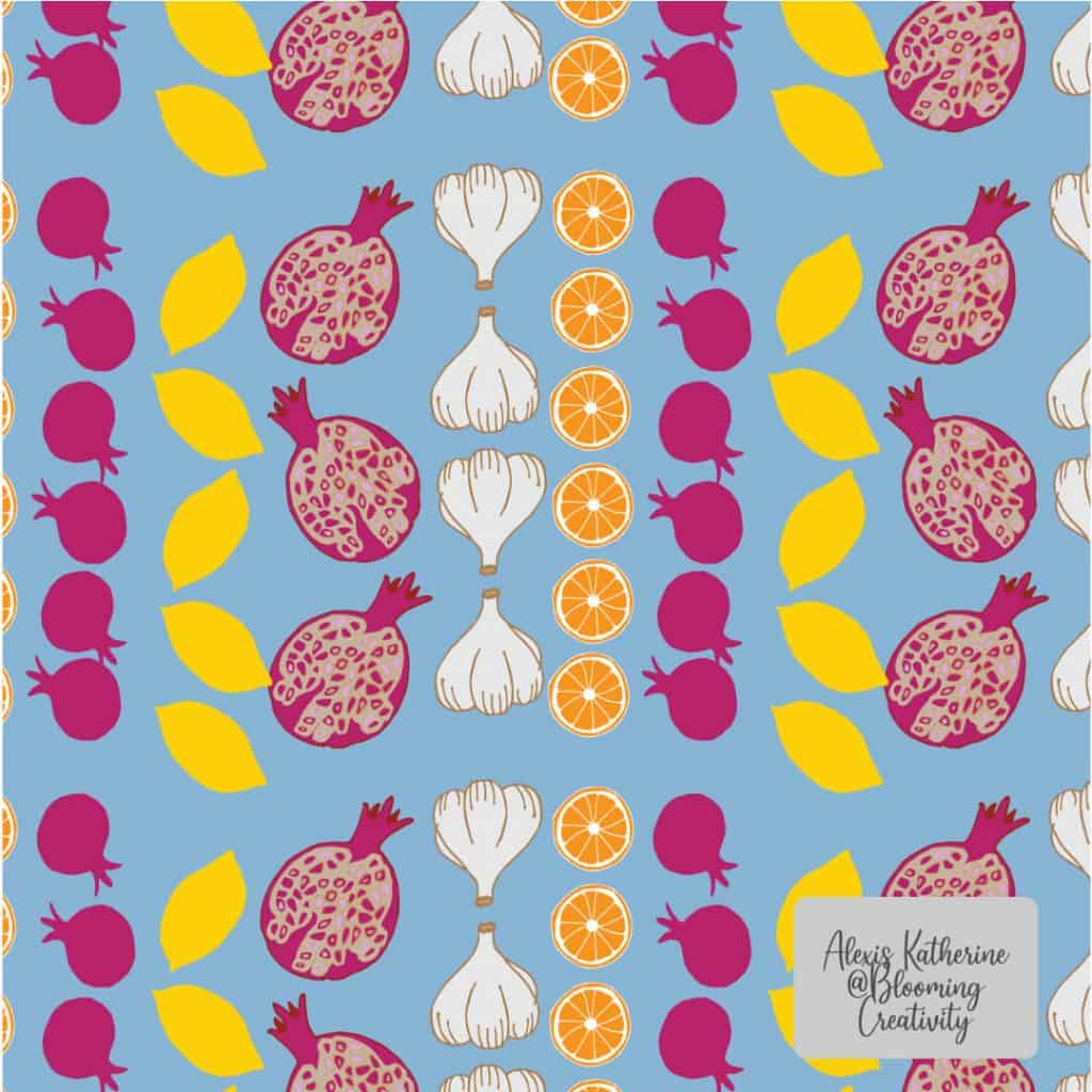 Mediterrean Surface Pattern Design of Pomegranates, Lemons, Oranges, and Garlic Created by Alexis of Blooming Creativity