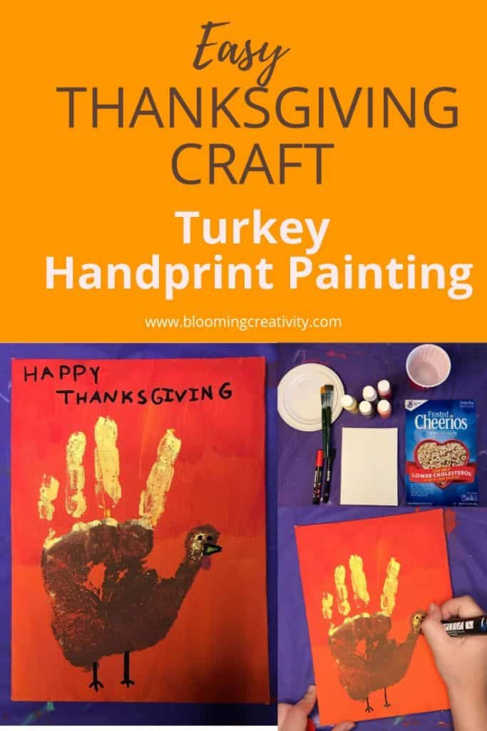 Easy Thankgiving Craft Turkey Handprint painting example with supplies