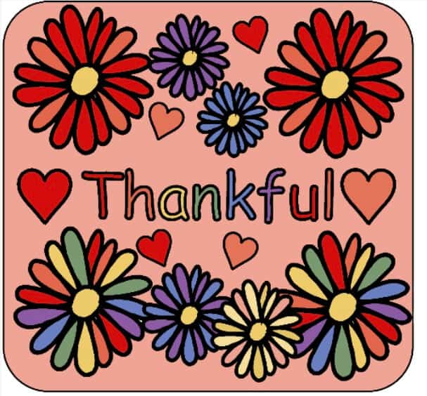 Colorful Thankful Label with Peach Background and Colorful Flowers